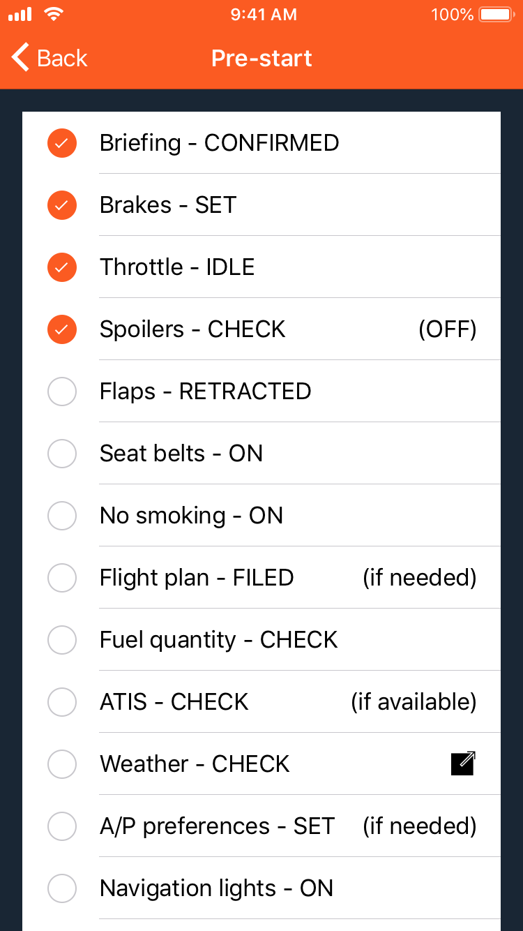 Realistic checklists, made for Infinite Flight